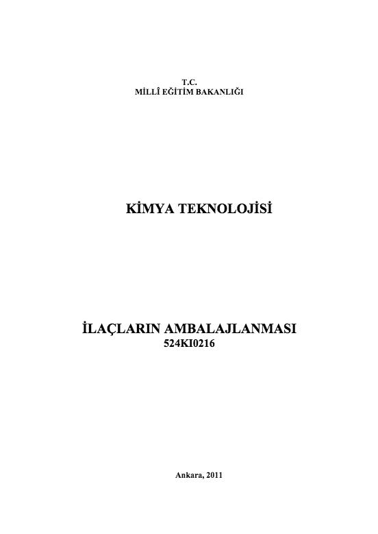 İlaçların Ambalajlanması ders notu pdf