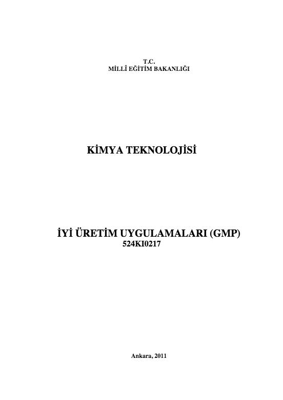 İyi Üretim Uygulamaları (gmp) ders notu pdf