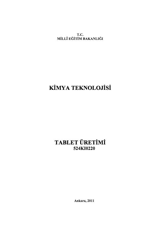 Tablet Üretimi ders notu pdf