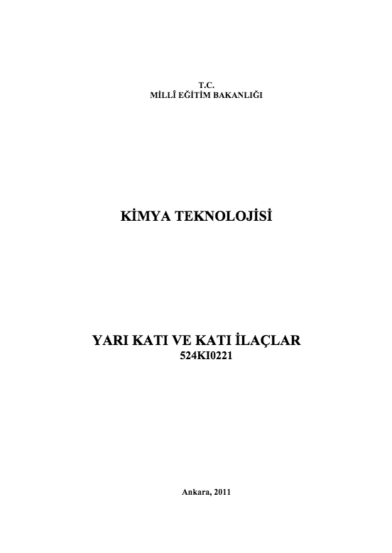 Yarı Katı Ve Katı İlaçlar ders notu pdf