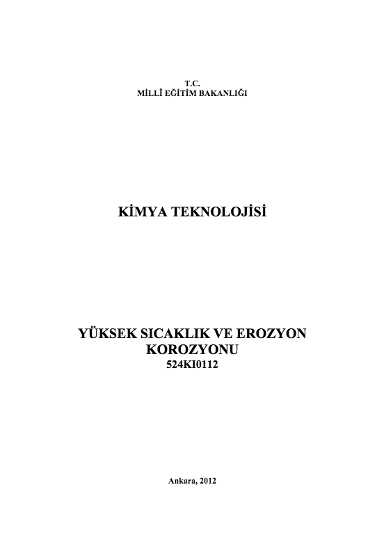 Yüksek Sıcaklık Ve Erozyon Korozyonu ders notu pdf