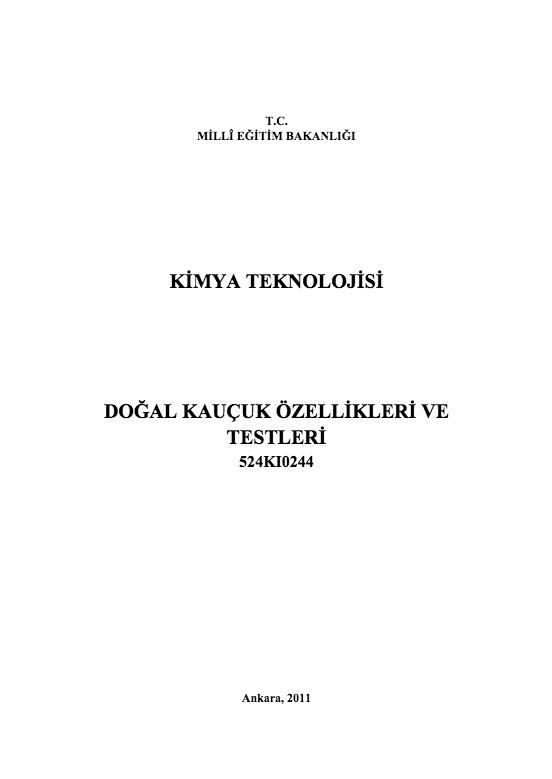 Doğal Kauçuk Özellikleri Ve Testleri ders notu pdf