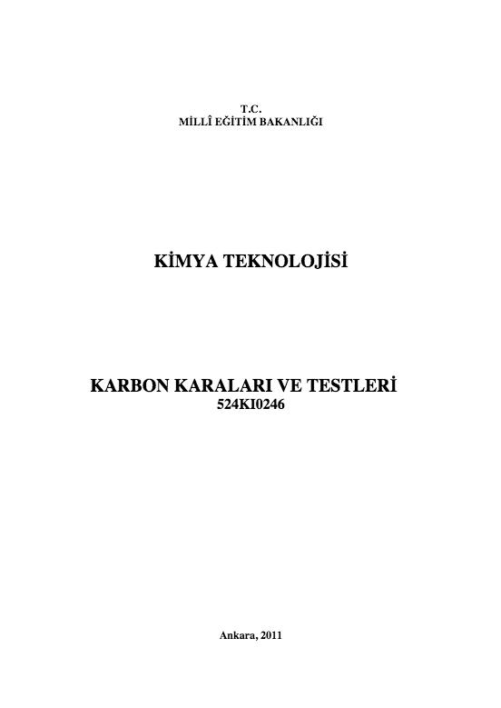 Karbon Karaları Ve Testleri ders notu pdf