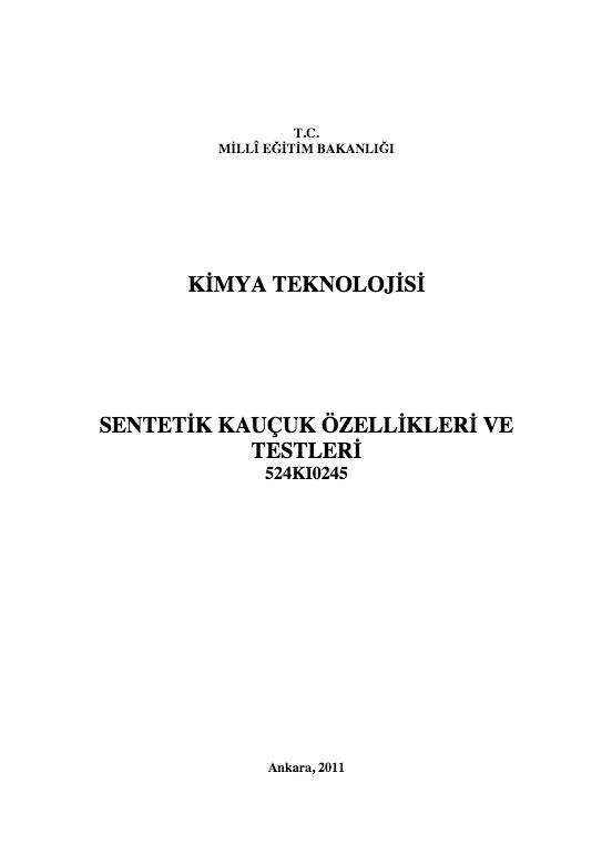 Sentetik Kauçuk Özellikleri Ve Testleri ders notu pdf