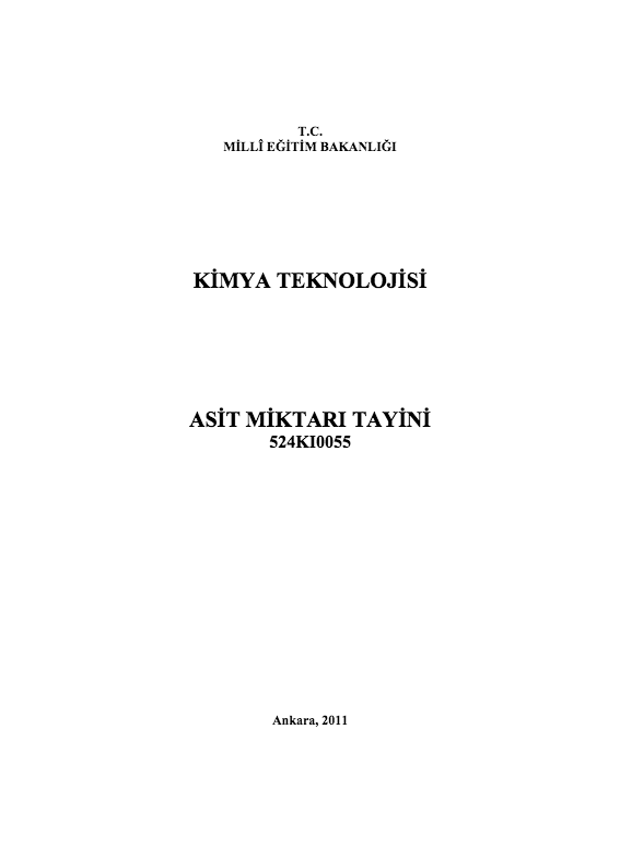 Asit Miktarı Tayini ders notu pdf