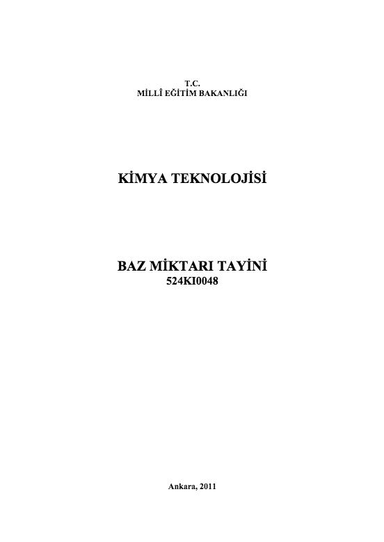 Baz Miktarı Tayini ders notu pdf