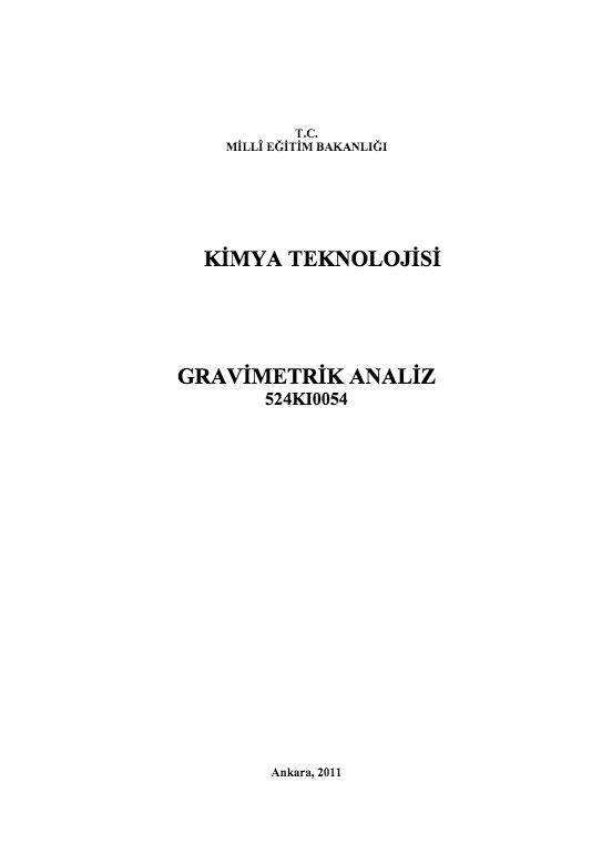 Gravimetrik Analiz ders notu pdf