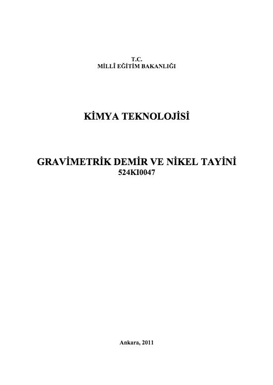 Gravimetrik Demir Ve Nikel Tayini ders notu pdf