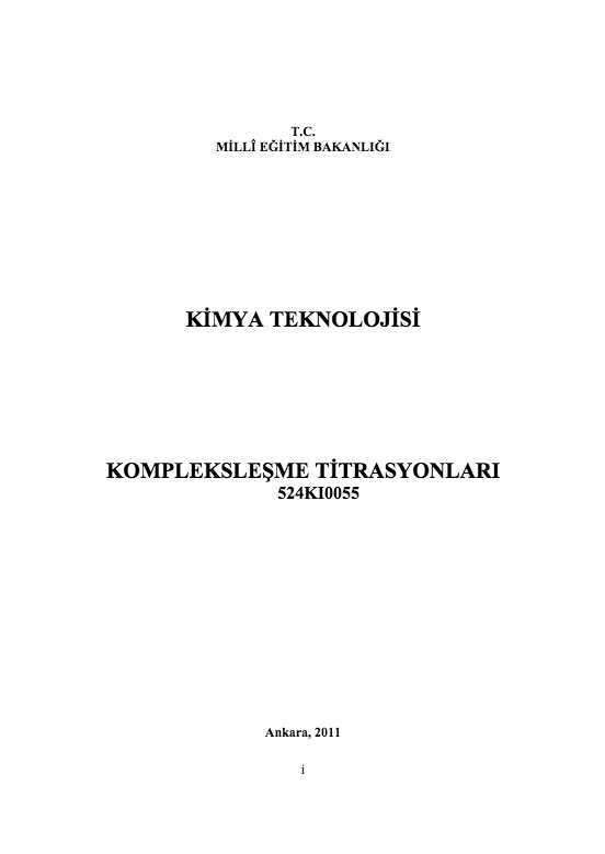 Kompleksleşme Titrasyonları ders notu pdf