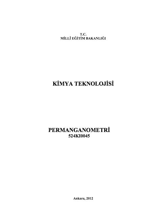 Permanganometri ders notu pdf