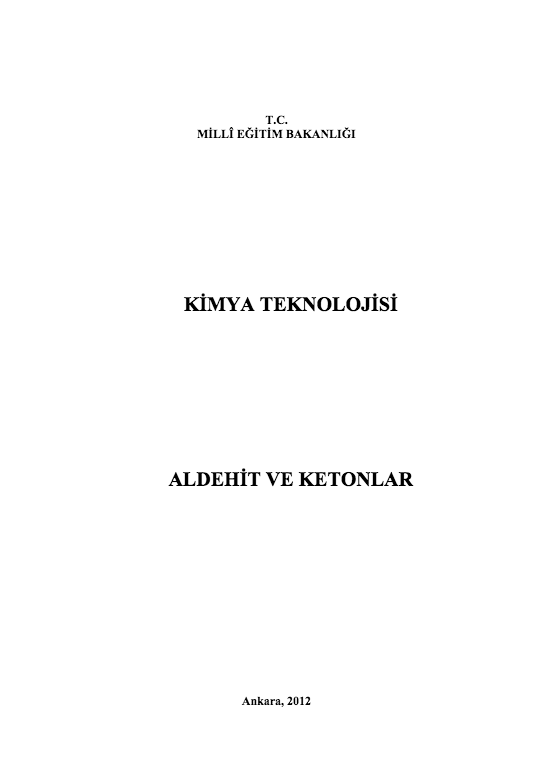Aldehit Ve Ketonlar ders notu pdf
