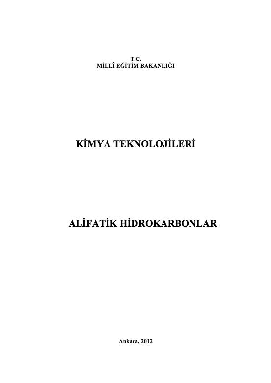 Alifatik Hidrokarbonlar ders notu pdf