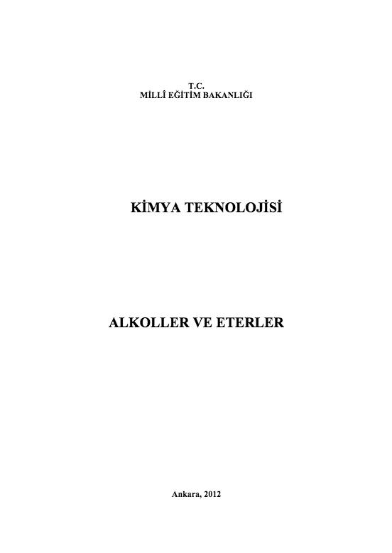 Alkoller Ve Eterler ders notu pdf