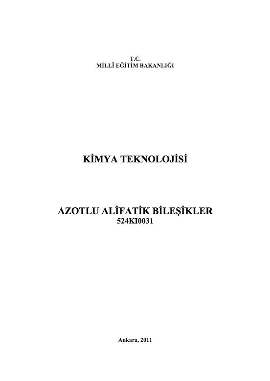Azotlu Alifatik Bileşikler ders notu pdf