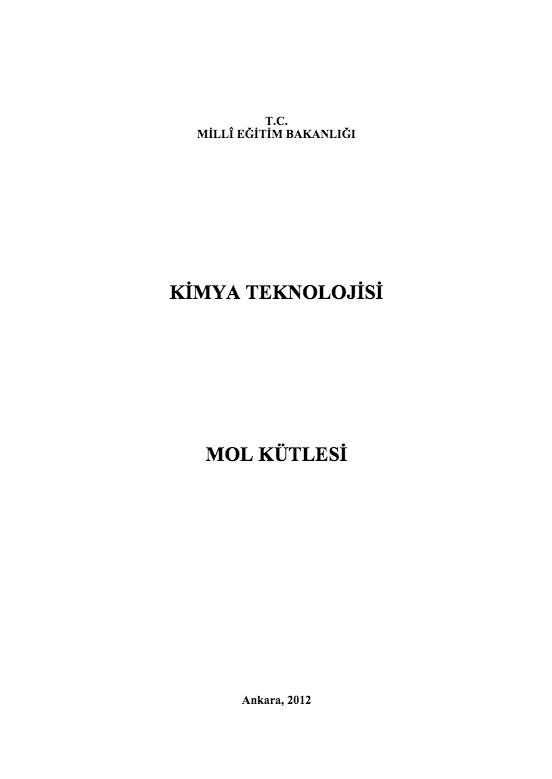 Mol Kütlesi ders notu pdf
