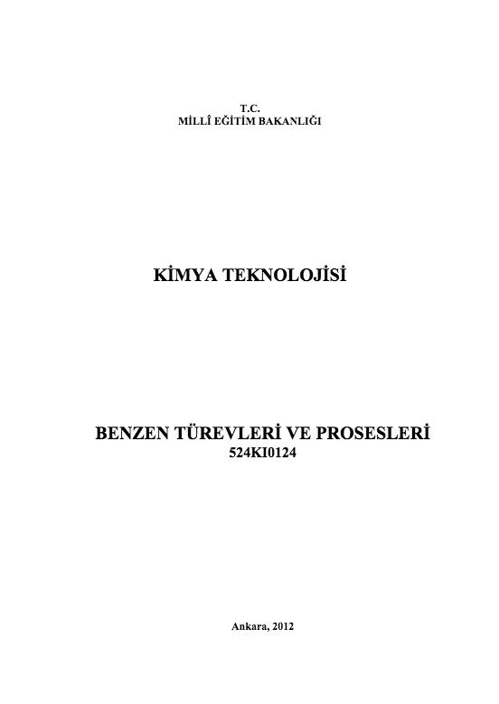 Benzen Türevleri Ve Prosesleri ders notu pdf
