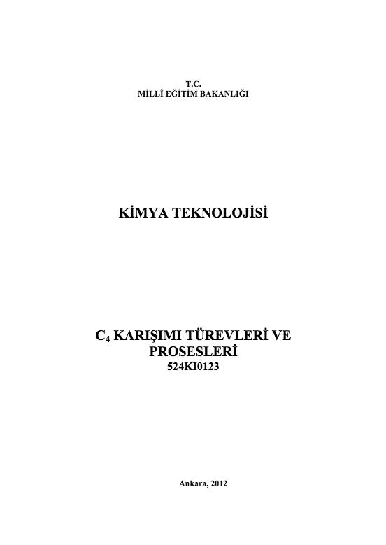 C4 Karışımı Türevleri Ve Prosesleri ders notu pdf