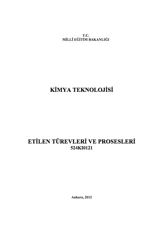 Etilen Türevleri Ve Prosesleri ders notu pdf