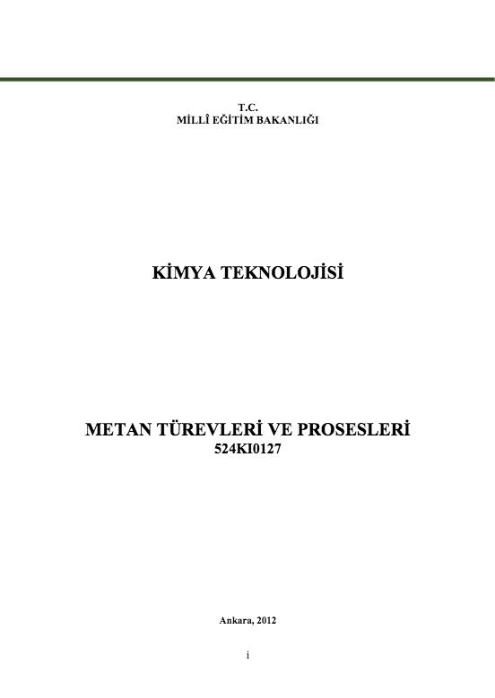 Metan Türevleri Ve Prosesleri ders notu pdf