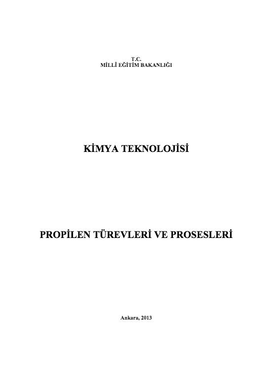Propilen Türevleri Ve Prosesleri ders notu pdf