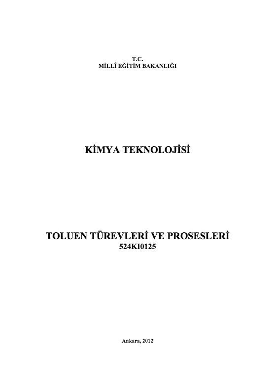 Toluen Türevleri ve Prosesleri ders notu pdf