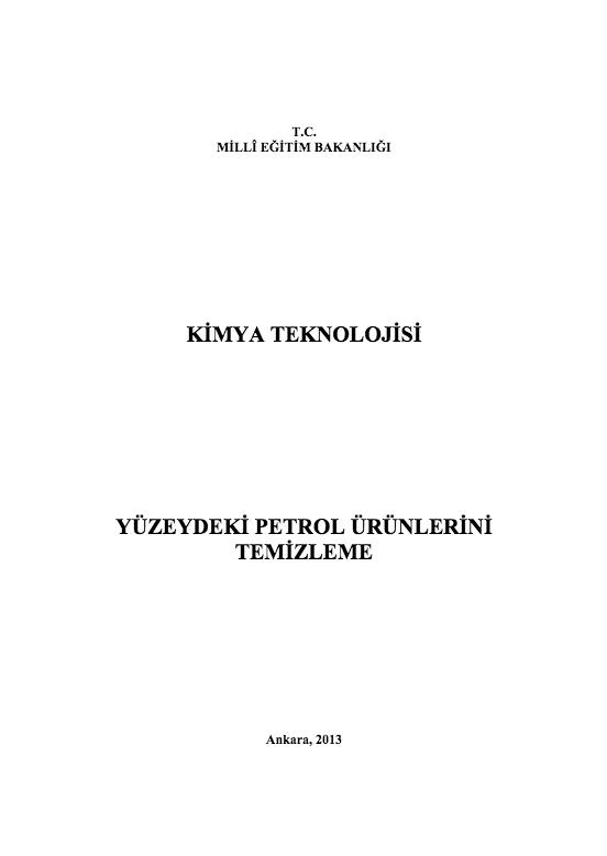 Yüzeydeki Petrol Ürünlerini Temizleme ders notu pdf