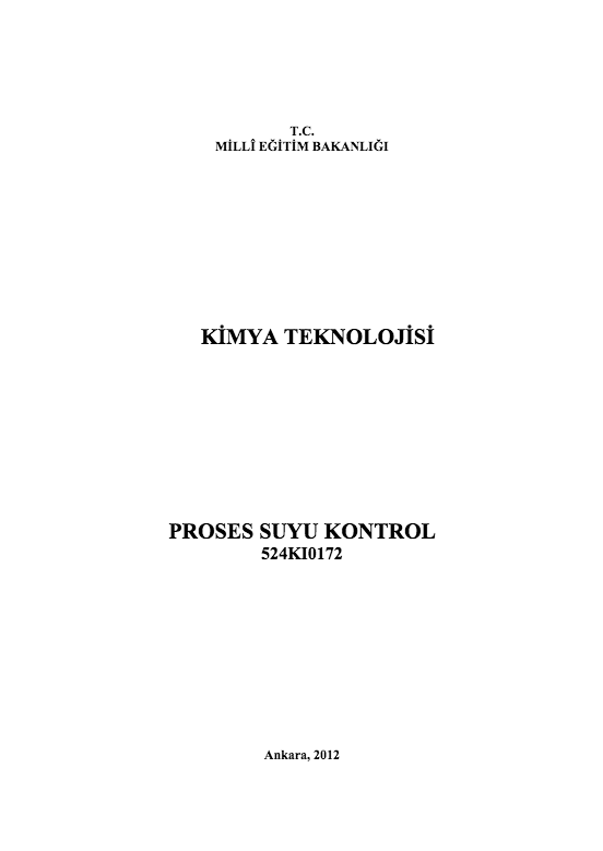 Proses Suyu Kontrol ders notu pdf