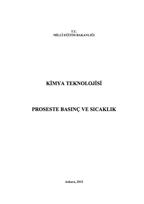 Proseste Basınç Ve Sıcaklık ders notu pdf