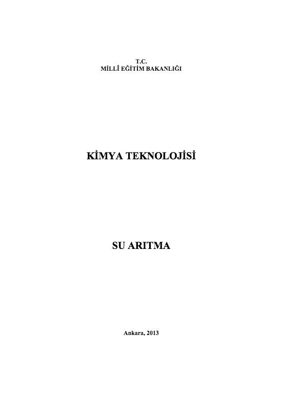 Su Arıtma ders notu pdf