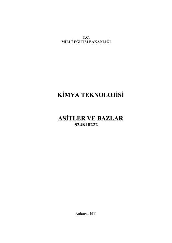 Asitler Ve Bazlar ders notu pdf