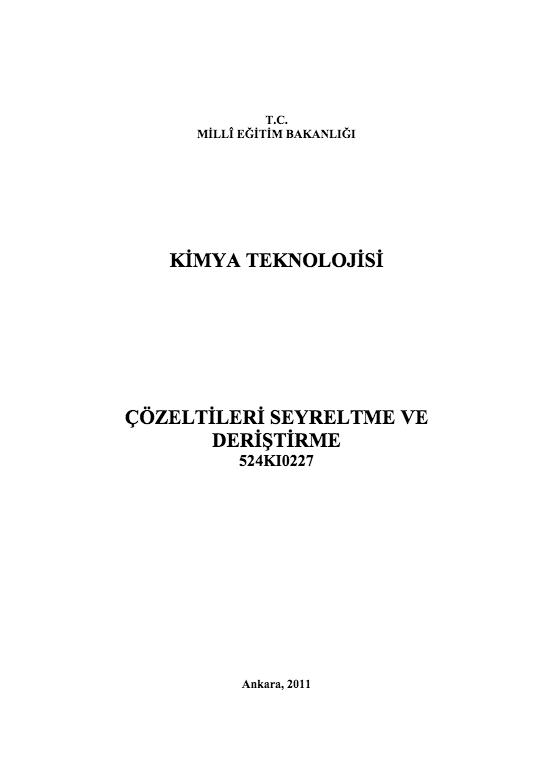 Çözeltileri Seyreltme Ve Deriştirme ders notu pdf