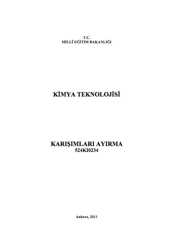 Karışımları Ayırma ders notu pdf