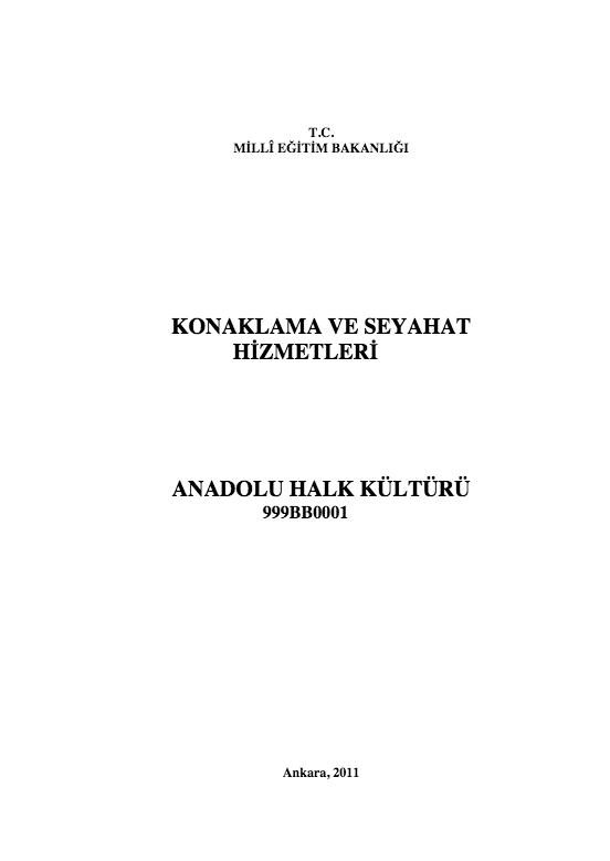 Anadolu Halk Kültürü ders notu pdf