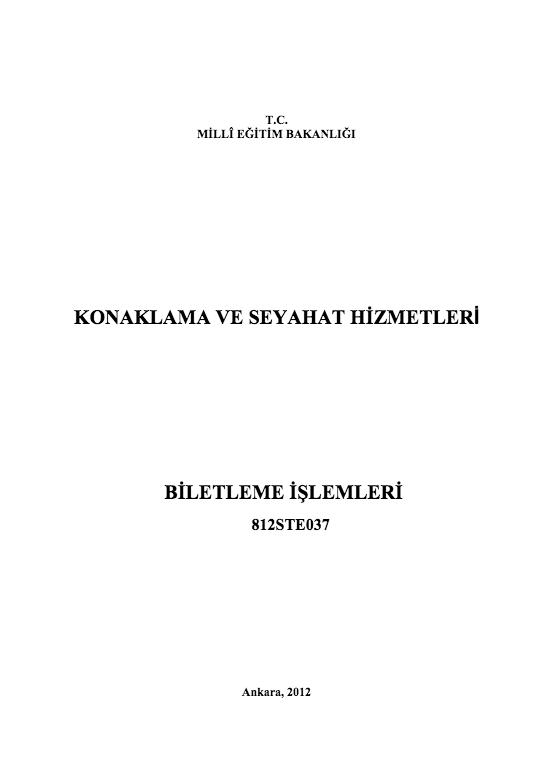 Biletleme İşlemleri ders notu pdf