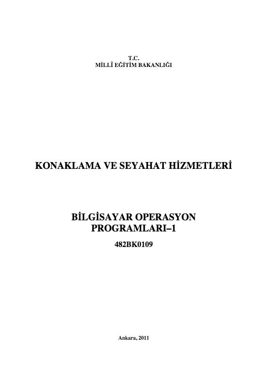 Bilgisayar Operasyon Programları 1 ders notu pdf