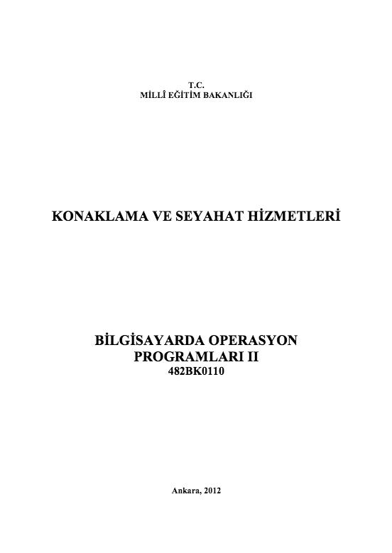 Bilgisayar Operasyon Programları 2 ders notu pdf