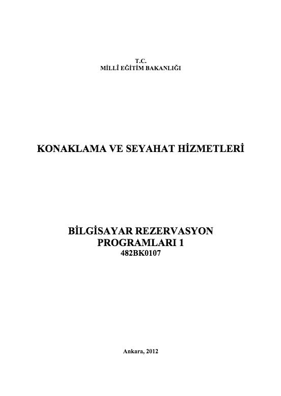 Bilgisayar Rezervasyon Programları 1 ders notu pdf
