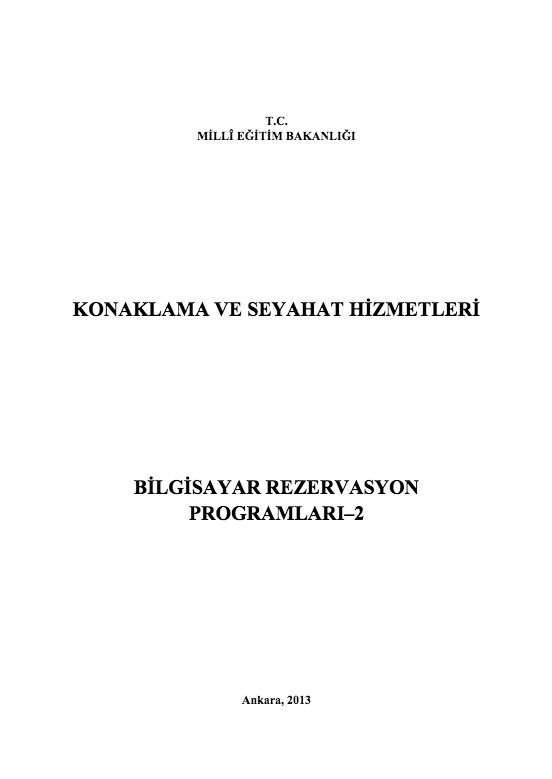 Bilgisayar Rezervasyon Programları 2 ders notu pdf