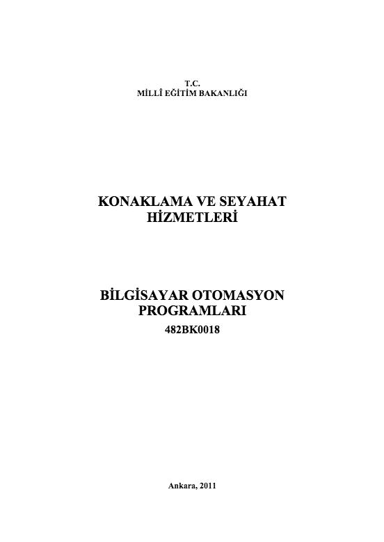 Bilgisayar Otomasyon Programları ders notu pdf