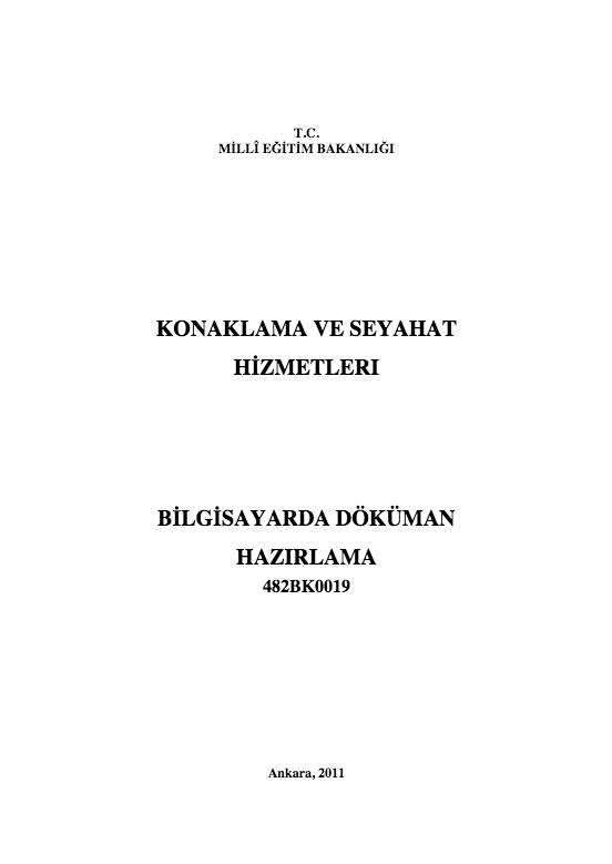 Bilgisayarda Doküman Hazırlama ders notu pdf