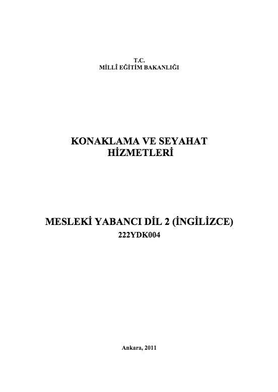 Mesleki Yabancı Dil 2 (seyahat-İngilizce) ders notu pdf