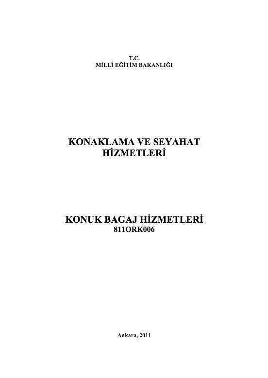 Konuk Bagaj Hizmetleri ders notu pdf