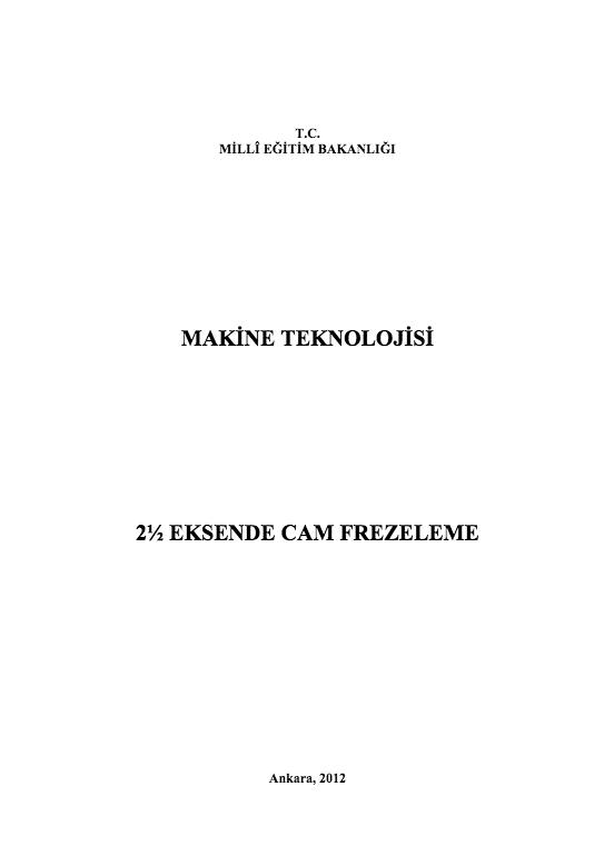 2 ½ Eksende Cam Frezeleme ders notu pdf