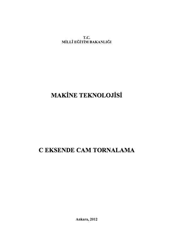 C Eksen Cam Tornalama ders notu pdf