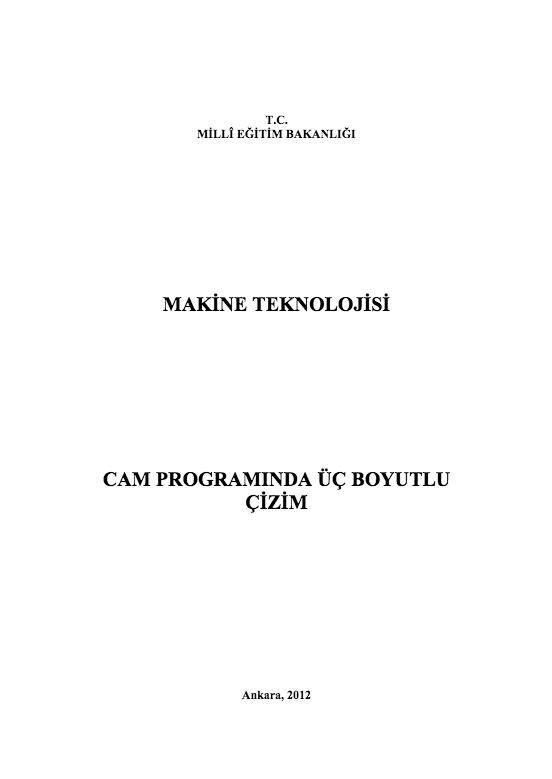 Cam Programında Üç Boyutlu Çizim ders notu pdf