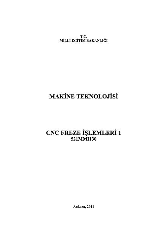 Cnc Freze İşlemleri 1 ders notu pdf