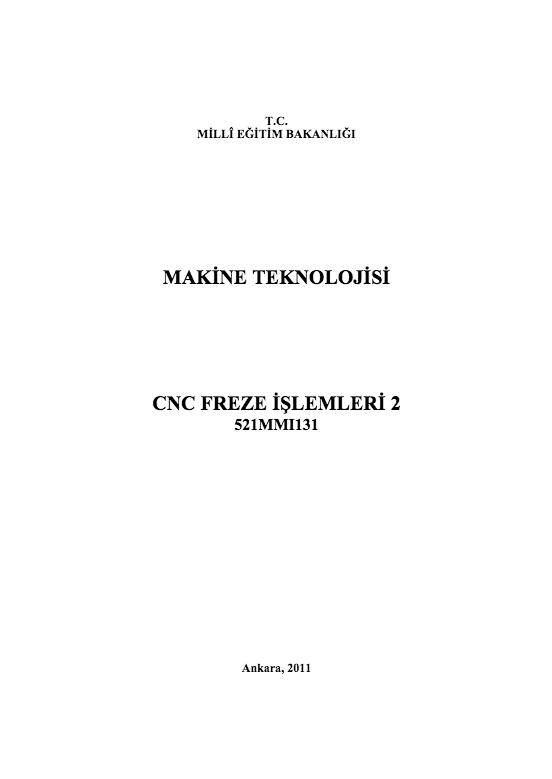 Cnc Freze İşlemleri 2 ders notu pdf