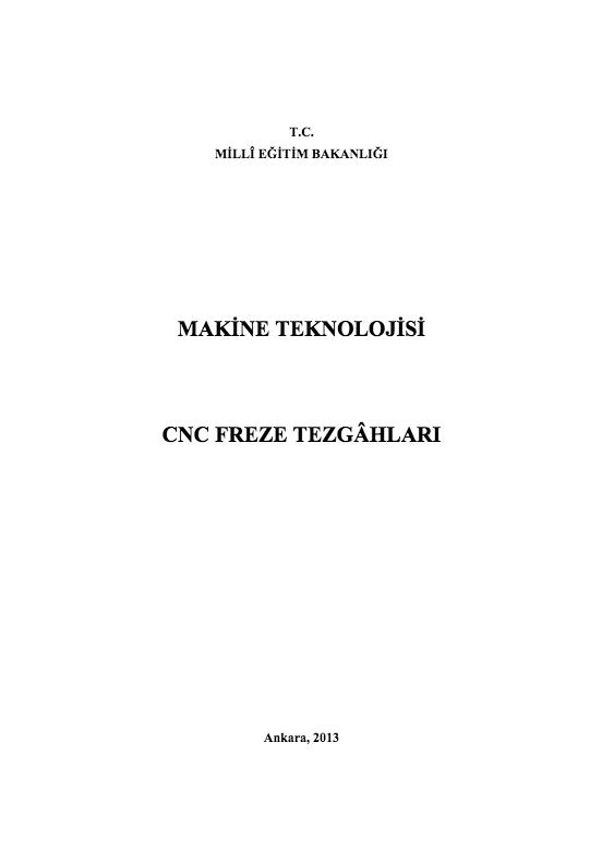 CNC Freze Tezgâhları ders notu pdf