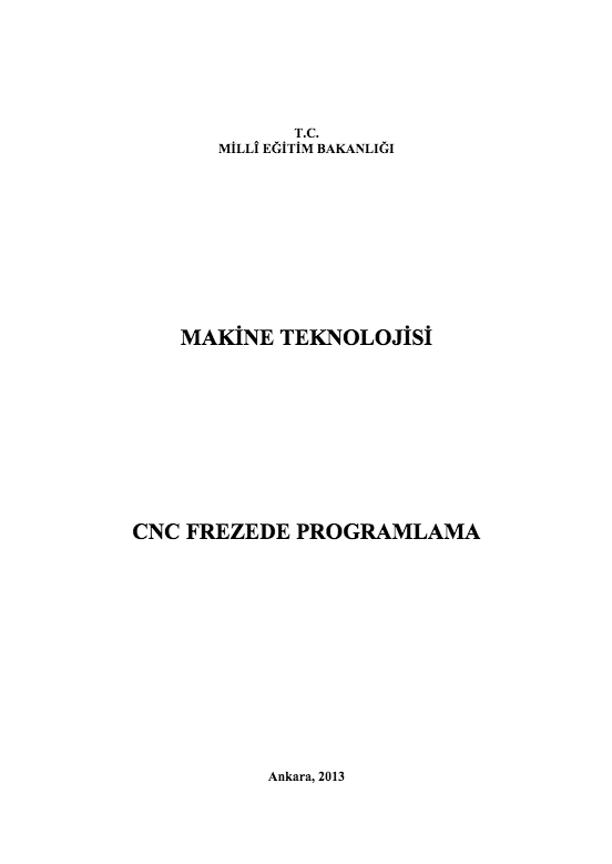Cnc Frezede Programlama ders notu pdf