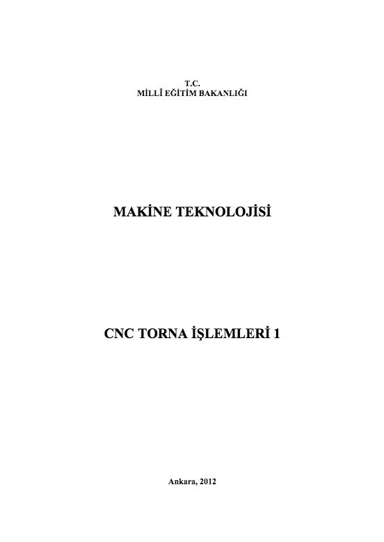 Cnc Torna İşlemleri 1 ders notu pdf